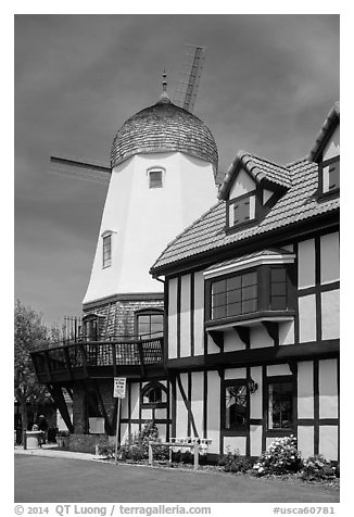 Windmill. Solvang, California, USA (black and white)