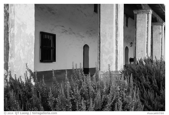 Flowers and gallery, La Purísima Mission. Lompoc, California, USA (black and white)