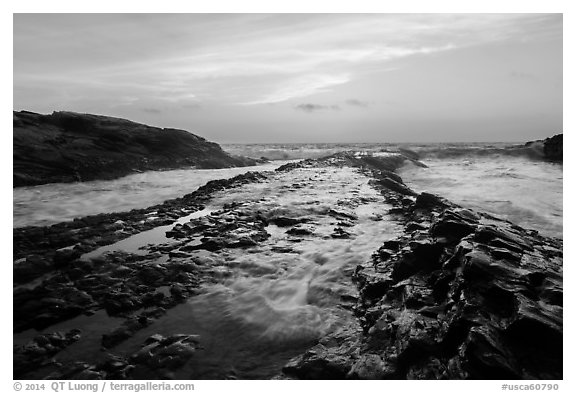 Rocky rib at sunset, Montana de Oro State Park. Morro Bay, USA (black and white)