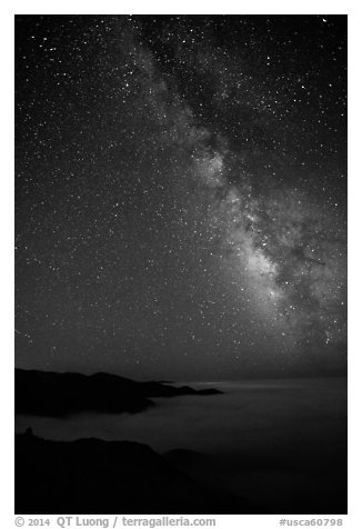Sky at night with Milky Way above sea of clouds, Garrapata State Park. Big Sur, California, USA (black and white)