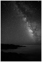 Sky at night with Milky Way above sea of clouds, Garrapata State Park. Big Sur, California, USA ( black and white)