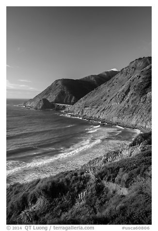 Cove and bridge in late afternoon. Big Sur, California, USA (black and white)