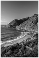 Cove and bridge in late afternoon. Big Sur, California, USA ( black and white)