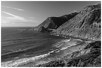 Cove lighted by setting sun. Big Sur, California, USA ( black and white)