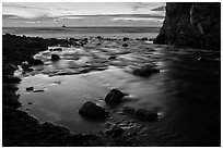 Creek flowing into ocean at dusk. Big Sur, California, USA ( black and white)