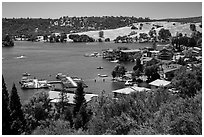 Marina, Tulloch Reservoir. California, USA ( black and white)