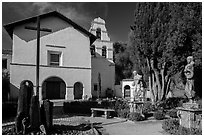 Church and bell tower, Mission San Juan Bautista. San Juan Bautista, California, USA ( black and white)