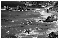 Green waters and shoreline, Julia Pfeiffer Burns State Park. Big Sur, California, USA ( black and white)