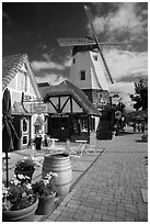 Bakery and windmill. Solvang, California, USA ( black and white)