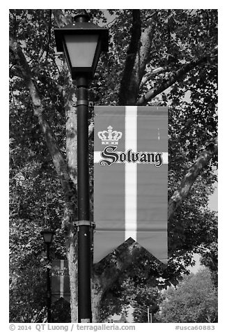 Flag with Danish colors. Solvang, California, USA (black and white)