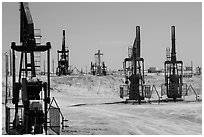Pumpjacks, oil field, Bakersfied. California, USA ( black and white)