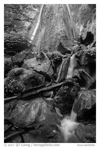 Limeliln falls, Limekiln State Park. Big Sur, California, USA (black and white)