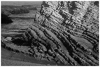 Stratified rock, Montana de Oro State Park. Morro Bay, USA ( black and white)