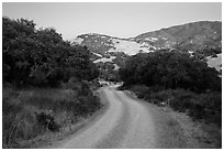 Road and hills at dusk. California, USA ( black and white)
