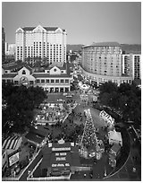 Aerial view of Christmas in the Park and Fairmont Hotel. San Jose, California, USA ( black and white)