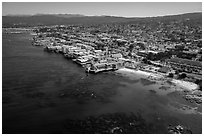 Aerial view of Aquarium and Cannery Row waterfront. Monterey, California, USA ( black and white)