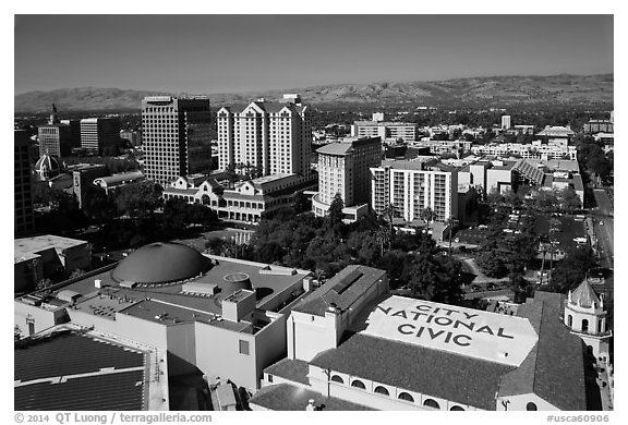 Aerial view of dowtown, City National Civic, and Plaza Cesar Chavez. San Jose, California, USA (black and white)