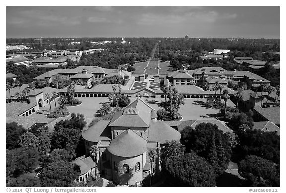 Aerial view of Memorial Church, Main Quad, and Oval. Stanford University, California, USA (black and white)