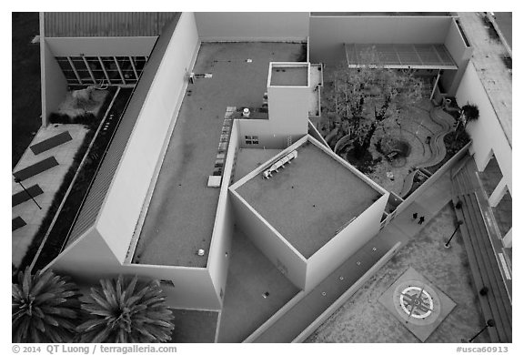 Aerial view of Childrens Museum. San Jose, California, USA (black and white)