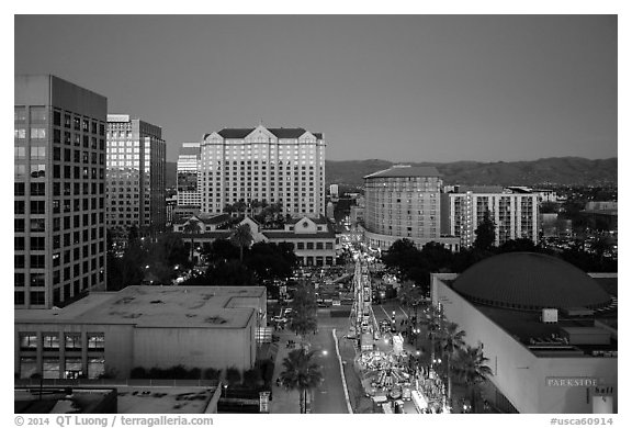 Aerial view of downtown at dusk during holidays. San Jose, California, USA (black and white)