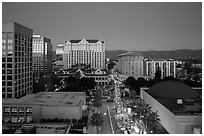 Aerial view of downtown at dusk during holidays. San Jose, California, USA ( black and white)