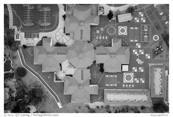 Aerial view of Silver Oak school roofs and courtyards. San Jose, California, USA (black and white)