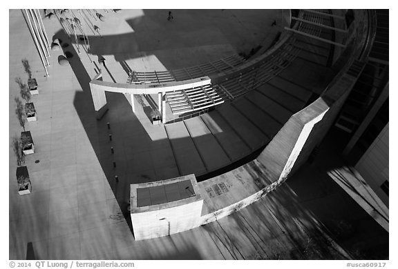 Aerial view of City Hall Plaza. San Jose, California, USA (black and white)