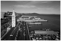 Aerial view of Ferry Building and piers. San Francisco, California, USA ( black and white)
