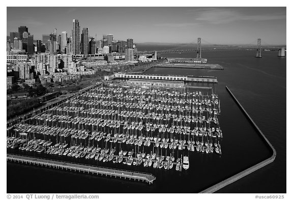 Aerial view of South Beach Harbor, downtown, and Bay Bridge. San Francisco, California, USA (black and white)