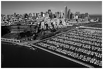 Aerial view of South Beach Harbor, ATT Park, and downtown. San Francisco, California, USA ( black and white)