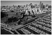 Aerial view of South Beach Harbor, ATT Park, and South of Market. San Francisco, California, USA ( black and white)