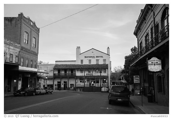Main street, Jackson. California, USA (black and white)