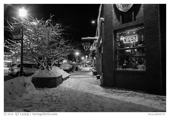 Main street in winter at night, Truckee. California, USA (black and white)