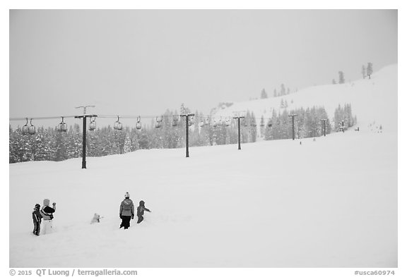 Ski resort on a snowy day. California, USA (black and white)
