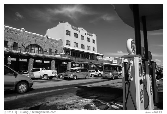 Gas station and street, Truckee. California, USA (black and white)