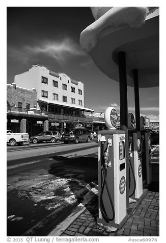 Gas pumps and street, Truckee. California, USA (black and white)
