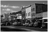 Main street in winter, Truckee. California, USA ( black and white)