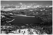 Donner Lake and snowy mountains in winter. California, USA ( black and white)