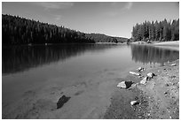 Jenkinson Lake on calm morning, Pollock Pines. California, USA ( black and white)