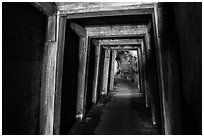 Gallery with wooden support beams, Gold Bug Mine, Placerville. California, USA ( black and white)
