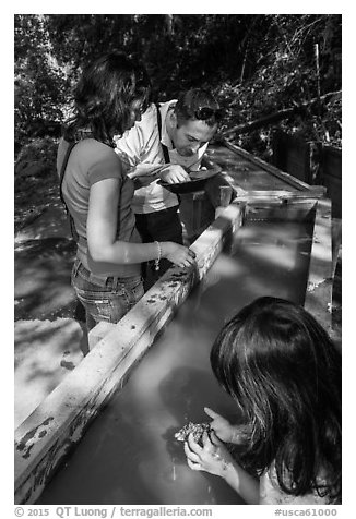 Visitors panning for gold, Gold Bug Mine, Placerville. California, USA (black and white)