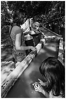 Visitors panning for gold, Gold Bug Mine, Placerville. California, USA ( black and white)