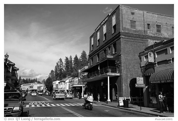 Brick building and main street, Placerville. California, USA (black and white)