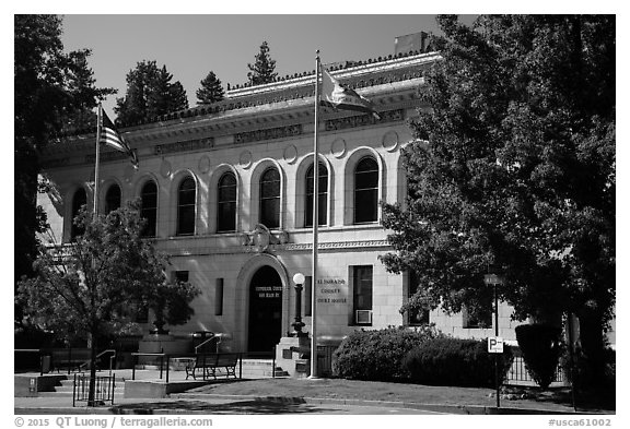 El Dorado County courthouse, Placerville. California, USA (black and white)