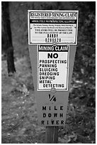 Registered mining claim sign, El Dorado County. California, USA ( black and white)