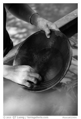 Hands holding pan, Gold Bug Mine, Placerville. California, USA (black and white)