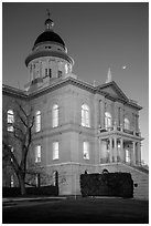 Placer County Courthouse and crescent moon, Auburn. California, USA ( black and white)