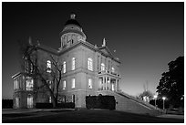 Placer County Courthouse at dusk with crescent moon, Auburn. California, USA ( black and white)