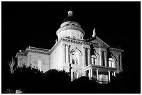 Placer County Courthouse at night, Auburn. California, USA ( black and white)
