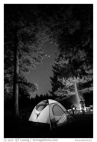 Tent and campfire at night,  Prosser Ranch Group Campground, Tahoe National Forest. California, USA (black and white)